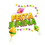 Η τυπογραφία Festa Junina διακόσμησε με τα φανάρια και τις σημαίες υφάσματος στο άσπρο υπόβαθρο διανυσματική απεικόνιση