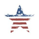 Η τυπωμένη ύλη αμερικανικών σημαιών ως διαμορφωμένο αστέρι σύμβολο. Στοκ Φωτογραφίες