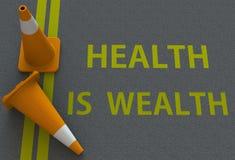 Η υγεία είναι πλούτος, μήνυμα στο δρόμο διανυσματική απεικόνιση