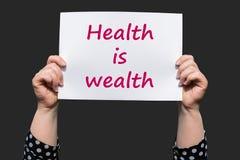 Η υγεία είναι πλούτος στοκ εικόνα