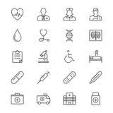 Η υγειονομική περίθαλψη λεπταίνει τα εικονίδια Στοκ Φωτογραφία