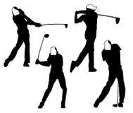 η υπαίθρια έμπνευση σχεδίου αθλητικών διανυσματική λογότυπων γκολφ, ένας φορέας χτυπά τη σφαίρα με ένα ραβδί ταλάντευσης στοκ εικόνες