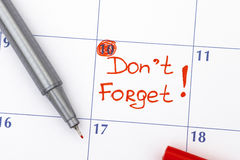 Η υπενθύμιση Don't ξεχνά στο ημερολόγιο Στοκ Εικόνες
