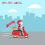 Η υπηρεσία μοτοσικλετών γύρου παράδοσης, διατάζει παγκοσμίως να στείλει, γρήγορα και την ελεύθερη μεταφορά, σαφή, διανυσματικά κι Στοκ εικόνα με δικαίωμα ελεύθερης χρήσης