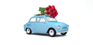 Η φέρνοντας ανθοδέσμη αυτοκινήτων των λουλουδιών τρισδιάστατων δίνει Στοκ Φωτογραφίες
