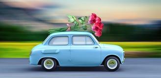 Η φέρνοντας ανθοδέσμη αυτοκινήτων των λουλουδιών τρισδιάστατων δίνει Στοκ εικόνα με δικαίωμα ελεύθερης χρήσης