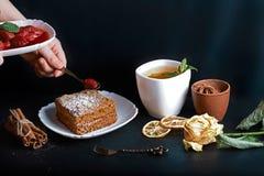 Η φέτα του χυμένου κέικ μελιού, μάγειρας διακόσμησε με τις φράουλες, δίκρανο επιδορπίων, μέντα, ξηρά λεμόνια, ραβδιά της κανέλας, Στοκ Εικόνα