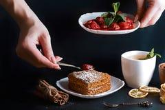 Η φέτα του χυμένου κέικ μελιού, μάγειρας διακόσμησε με τις φράουλες, δίκρανο επιδορπίων, μέντα, ξηρά λεμόνια, ραβδιά της κανέλας, στοκ εικόνα με δικαίωμα ελεύθερης χρήσης