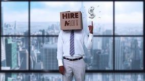 Η φθορά επιχειρηματιών με μισθώνει κιβώτιο και υπόδειξη στο σημάδι δολαρίων απεικόνιση αποθεμάτων