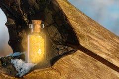 Η φιάλη με οι κίτρινες επιθυμίες στο ξύλο Στοκ Εικόνες