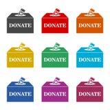 Η φιλανθρωπία, έννοια δωρεάς, δίνει τα χρήματα στο εικονίδιο κιβωτίων ή το λογότυπο, σύνολο χρώματος απεικόνιση αποθεμάτων