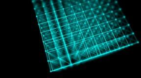 Η φουτουριστική τεχνολογία cyber κυβίζει το παγκόσμιο δίκτυο σύνδεσης, υπολογιστής, εικονικά οπτικά καλώδια ινών, σύνδεση ινών Στοκ Εικόνες