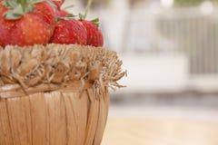 Η φράουλα απομονώνει, εστιάζει σε δύο φράουλες στοκ εικόνες