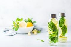 Η φρέσκια δροσερή μέντα αγγουριών λεμονιών ημπότισε το ποτό νερού detox Στοκ Φωτογραφία