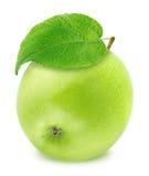 Η φρέσκια πράσινη Apple με το φύλλο που απομονώνεται στο άσπρο υπόβαθρο Στοκ εικόνα με δικαίωμα ελεύθερης χρήσης