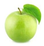 Η φρέσκια πράσινη Apple με το φύλλο που απομονώνεται στο άσπρο υπόβαθρο Στοκ εικόνες με δικαίωμα ελεύθερης χρήσης