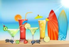 Η φρεσκάδα του χυμού στην παραλία διανυσματική απεικόνιση
