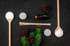 Η φροντίδα δέρματος και χαλαρώνει Καλλυντικά και aromatherapy έννοια Pine spa άλας, πετρέλαιο, κομψός κλάδος και pinecones στο Μα Στοκ εικόνες με δικαίωμα ελεύθερης χρήσης