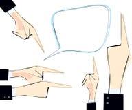Η φυσαλίδα κειμένων και τα αρσενικά χέρια που τέθηκαν με την υπόδειξη των δάχτυλων κατεύθυναν τις διαφορετικές πλευρές Στοκ φωτογραφία με δικαίωμα ελεύθερης χρήσης