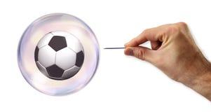 Η φυσαλίδα ποδοσφαίρου (ποδόσφαιρο) περίπου που χρησιμοποιείται στοκ εικόνες