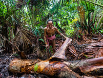 Η φυλή Mentawai ατόμων πηγαίνει στη ζούγκλα Στοκ Φωτογραφίες
