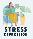 Η φωνάζοντας γυναίκα στην κατάθλιψη ή την πίεση κάθεται στην καρέκλα απεικόνιση αποθεμάτων