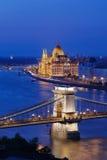 Η φωτισμένη Βουδαπέστη Στοκ Εικόνες