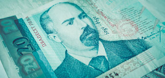 Η φωτογραφία απεικονίζει το βουλγαρικό τραπεζογραμμάτιο νομίσματος 20 leva, BGN, clo Στοκ Φωτογραφίες