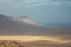 Η φωτογραφία πανοράματος της νεκρής θάλασσας στο Ισραήλ από το βουνό masada Στοκ εικόνα με δικαίωμα ελεύθερης χρήσης