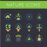 Η φύση και πηγαίνει πράσινα εικονίδια Στοκ εικόνες με δικαίωμα ελεύθερης χρήσης