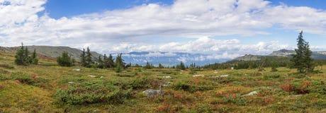 Η φύση των νότιων Ουραλίων Μετά από τη βροχή Καλοκαίρι στα βουνά Πανόραμα ενός όμορφου ουρανού με τα σύννεφα ενάντια στην ΤΣΕ Στοκ Εικόνες