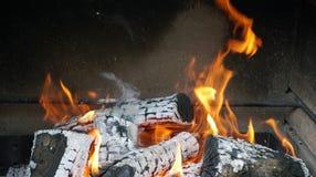 Η φλόγα στην εστία καίγοντας καυσόξυλο Στοκ Εικόνα