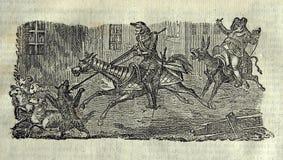 Η χάραξη φορά Δον Κιχώτης και Sancho Panza Στοκ Φωτογραφία