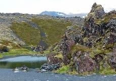 Η χαμηλότερη λίμνη στην παραλία Djupalonssandur Στοκ Εικόνες