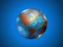 Η χαμηλή πολυ γη εξασθενίζει από γκρίζο για να χρωματίσει με το wireframe Στοκ εικόνες με δικαίωμα ελεύθερης χρήσης