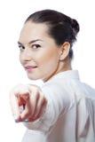 Η χαμογελώντας γυναίκα εμφανίζει δάχτυλο Στοκ φωτογραφία με δικαίωμα ελεύθερης χρήσης
