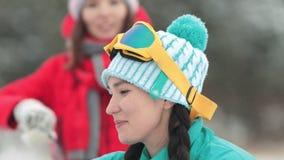 Η χαμογελώντας γυναίκα λέει μια αστεία ιστορία στο χειμερινό δάσος απόθεμα βίντεο