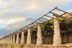 η χαρακτηριστική γεωργική αρχιτεκτονική των αμπελώνων της Carema, Piedmont, Ιταλία Στοκ Φωτογραφία