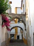 Η χαρακτηριστική μικρή οδός μιας πόλης του Αλεντέιο στην Πορτογαλία με δύο που σχηματίζει αψίδα Evora Πορτογαλία στοκ εικόνες