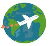 Η χαριτωμένα γη και το αεροπλάνο κινούμενων σχεδίων με την αγάπη καρδιών ταξιδεύουν τη διανυσματική απεικόνιση παγκόσμιας έννοιας Στοκ εικόνα με δικαίωμα ελεύθερης χρήσης