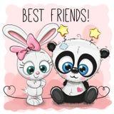 Η χαριτωμένα Panda και κορίτσι κουνελιών ελεύθερη απεικόνιση δικαιώματος