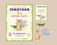 Η χαριτωμένη ζωική πρόσκληση γιορτής γενεθλίων θέματος και ευχαριστεί εσείς λαναρίζει το πρότυπο απεικόνισης Στοκ φωτογραφία με δικαίωμα ελεύθερης χρήσης