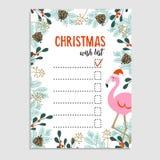 Η χαριτωμένη κάρτα Χριστουγέννων, το φλαμίγκο λιστών επιθυμητών στόχων με το καπέλο Santa και το floral πλαίσιο φιαγμένο από χρισ Στοκ φωτογραφίες με δικαίωμα ελεύθερης χρήσης
