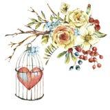 Η χαριτωμένη φυσική floral ευχετήρια κάρτα watercolor με το λευκό αυξήθηκε, κόκκινη καρδιά απεικόνιση αποθεμάτων