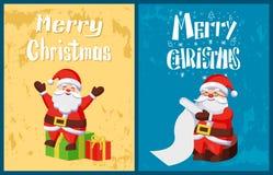 Η Χαρούμενα Χριστούγεννα, Άγιος Βασίλης διαβάζει τη λίστα επιθυμητών στόχων, δώρα απεικόνιση αποθεμάτων