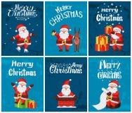 Η Χαρούμενα Χριστούγεννα, Άγιος Βασίλης με παρουσιάζει το σύνολο ελεύθερη απεικόνιση δικαιώματος