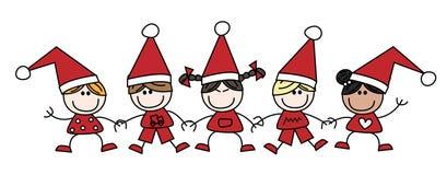 Η Χαρούμενα Χριστούγεννα ανάμιξε τα εθνικά παιδιά Στοκ εικόνα με δικαίωμα ελεύθερης χρήσης