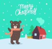 Η Χαρούμενα Χριστούγεννα αντέχει το διάνυσμα αφισών μαντίλι διανυσματική απεικόνιση