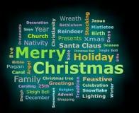 Η Χαρούμενα Χριστούγεννα καίγεται τρισδιάστατο σύννεφο λέξης χαιρετισμών κειμένων Στοκ Φωτογραφίες