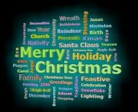 Η Χαρούμενα Χριστούγεννα καίγεται τρισδιάστατο σύννεφο λέξης χαιρετισμών κειμένων που αντιμετωπίζει αριστερά Στοκ φωτογραφία με δικαίωμα ελεύθερης χρήσης